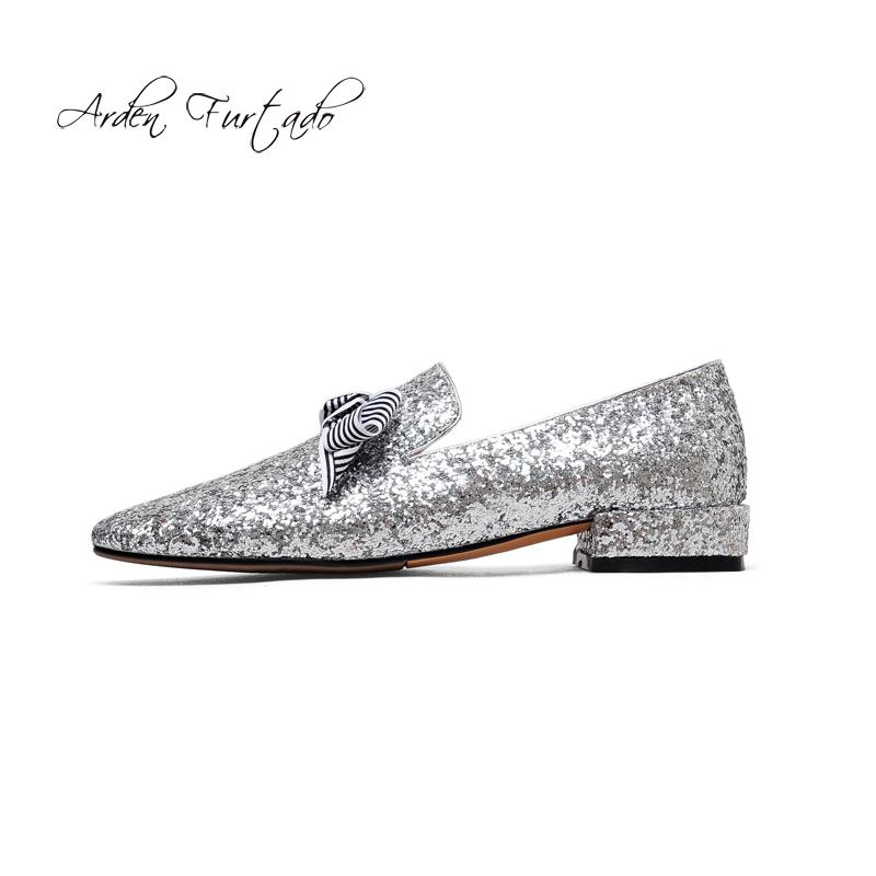 2fb35cb64055 Bowtie Butterflly Knot Fashion Spring Autumn Slip On Bling Bling Flats  Glitter Shoes Woman Ladies Square Heels Sequined Cloth Size 43 High Heels  Heels From ...