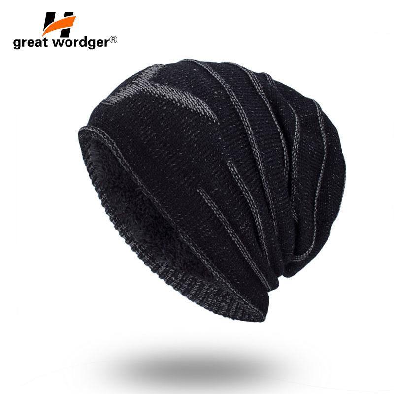 d85d578d8ece8 2018 New Mens Beanies knitted Cap Winter Hat For Women Knit Baggy Cap Warm  Add Velvet Wool Hiking Women s Hat Gorro