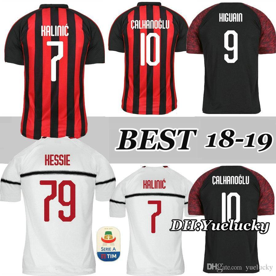 CALHANOGLU HIGUAIN 18 19 Home Red Black Soccer Jersey 3RD KESSIE ... 45ff703bc