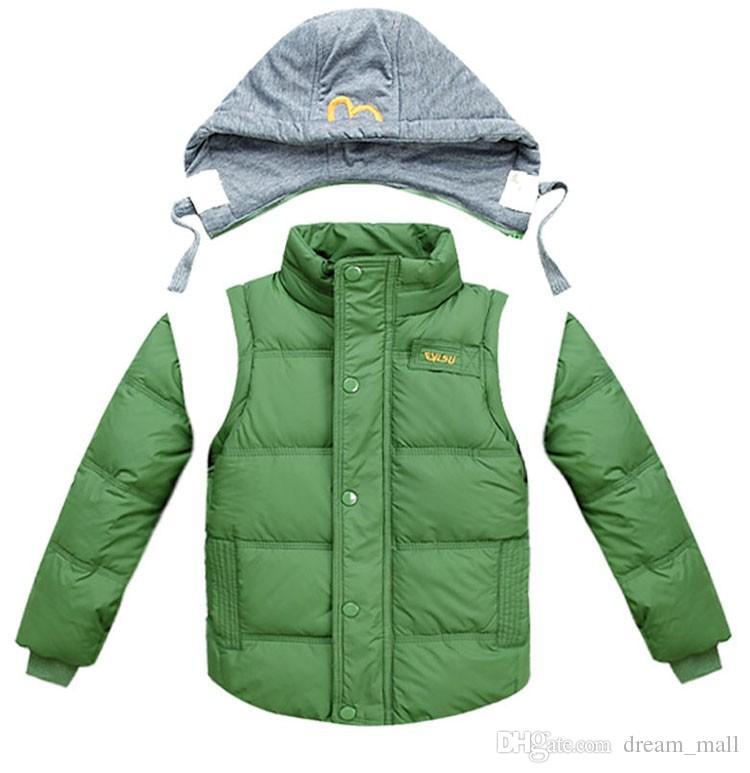 Boys Kış Ceketler Çıkarılabilir Çocuklar Sıcak Aşağı Parkas Yelek çocuk Kapşonlu Palto Kalın Dış Giyim