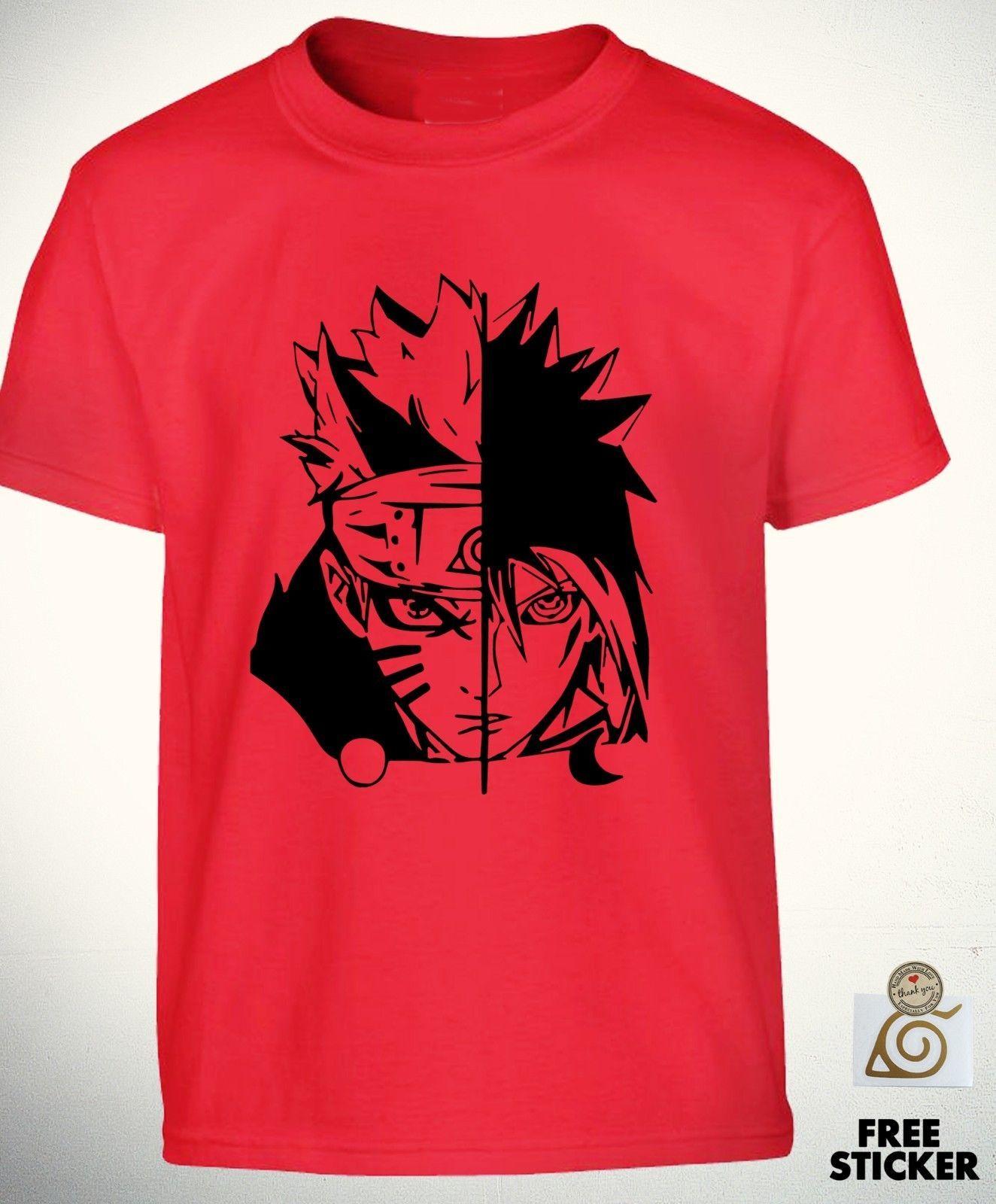 dbb912270 Naruto Vs Sasuke Red T Shirt Uchiha Sharingan Tee Cool Anime Gift Top Boys  Kids Cool T Shirts For Boys Online Cool Team Shirts From Yg06tshirt, ...