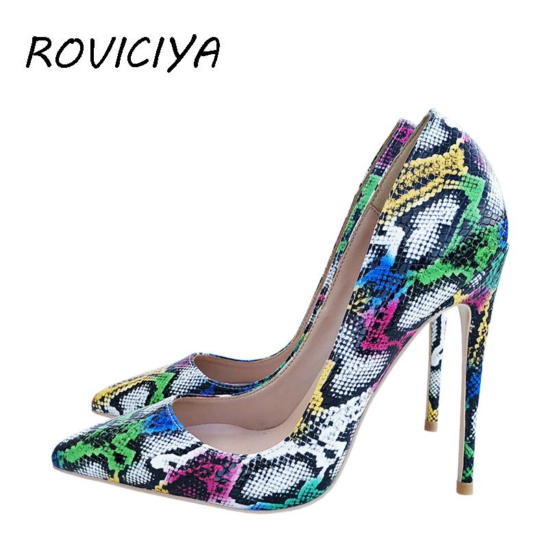 0b6a7713033 Sexy Woman Shoes Pointed Toe High Heels Colourful Snake Print Stilettos 12  Cm 10 Cm 8 Cm Wedding Shoes Girls QP049 ROVICIYA Wholesale Shoes Black  Shoes From ...