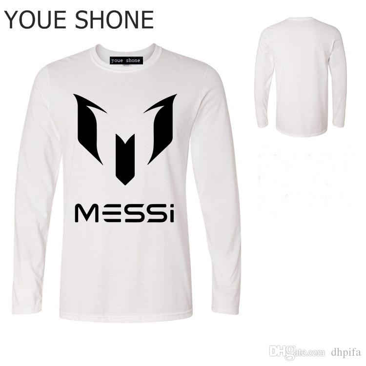 0b46bf5f6e1 Men s cotton long sleeve Shirt Messi funny cotton tshirt World Cup  Argentina fans Top Tees Lionel Messi T-Shirts Barcelona polo T-shirt