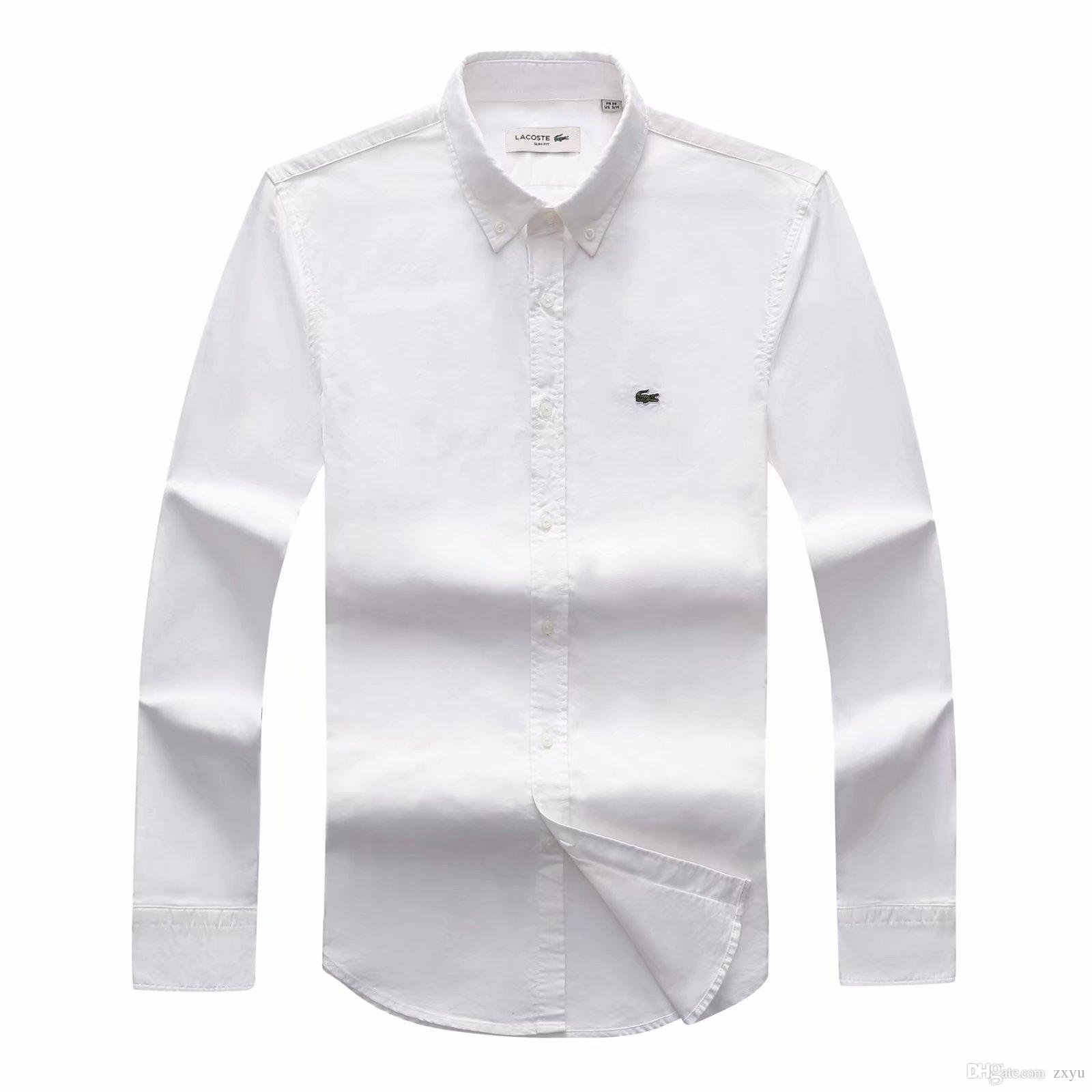 0ac2108c Drop Shipping 2018 19 Autumn Men's long sleeved Slim Fit Shirts Men Brand  POLO Shirts Fashion 100% Oxford Casual Shirt Small Horse Clothes