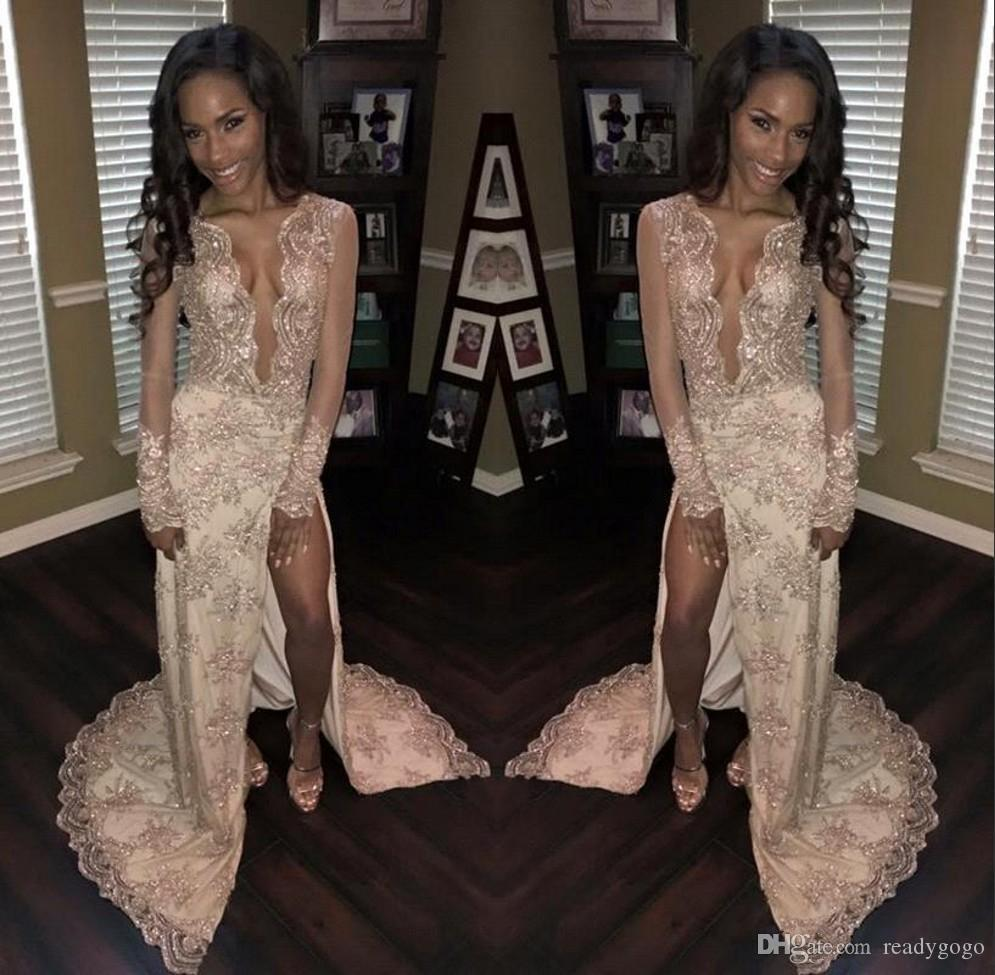 African Sexy Sparkly Prom Dresses 2018 Long Sleeves Deep V-neck Side Split Evening Gowns Beaded Lace Appliques Celebrity Dress