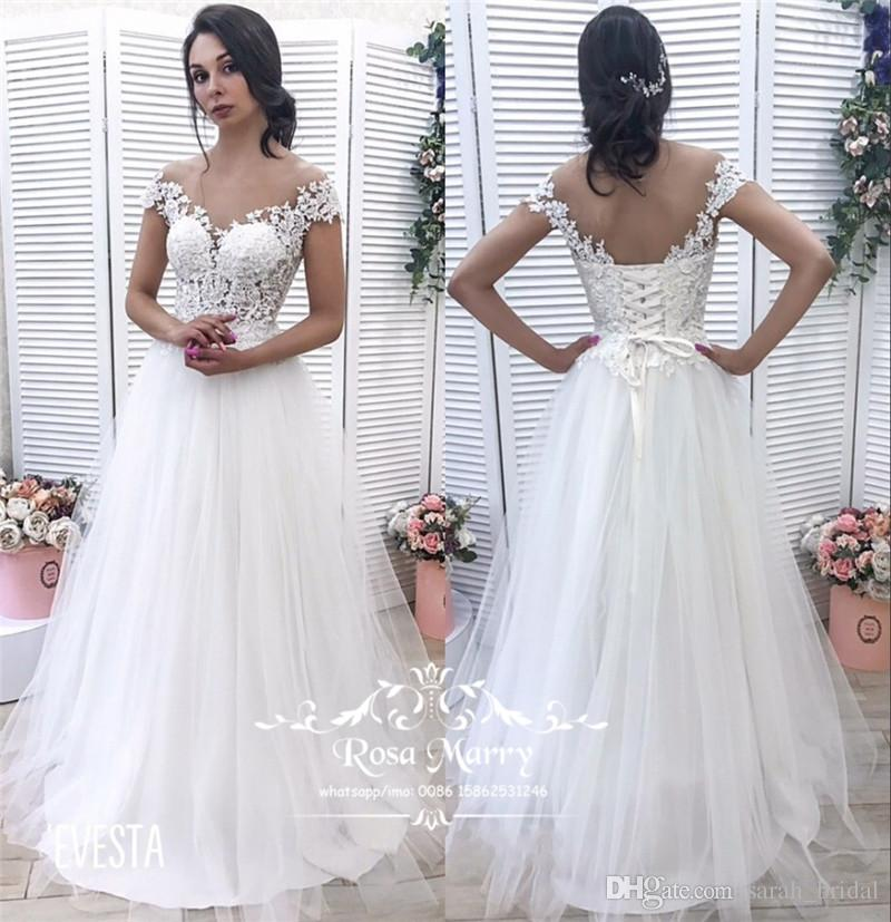 Discount Modest Plus Size Beach Wedding Dresses 2019 A Line Vintage