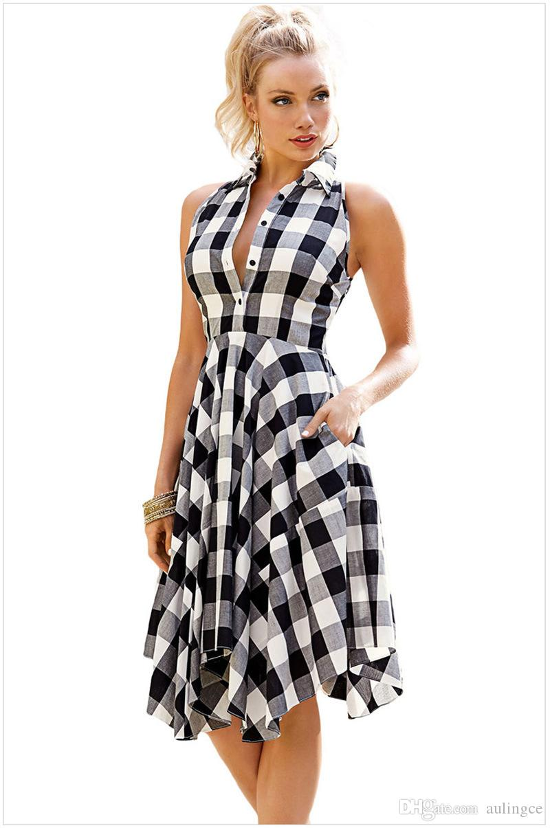 49f43c70ed 2018 Summer Women Casual Sleeveless Plaid Pleated Party Dress Plus Size  Female Vintage Lattice Pocket Bodycon Dress Sequin Dress Going Out Dresses  From ...