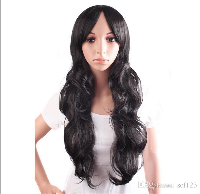Length 60 cm Japan and South Korea wind COS wig fashion hot repair face long curly hair big wave ladies wig