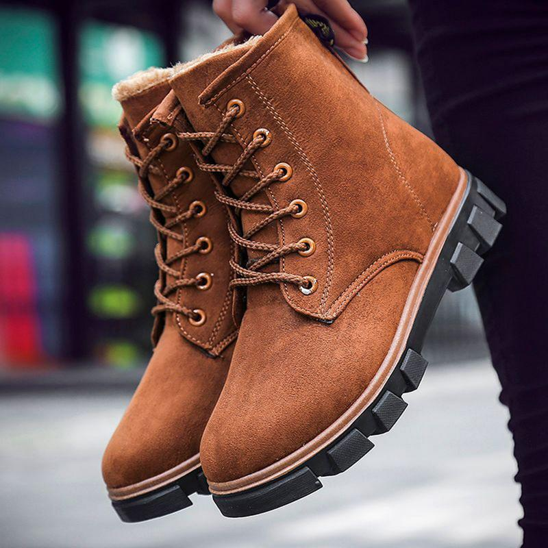 cb28621625d3 Oeak Women Boots Plus Cashmere Warm Fashion Winter Snow Boots Lace Up Female  Ankle Women Winter Casual Hiking Boots Shoes For Women From Dirtegg