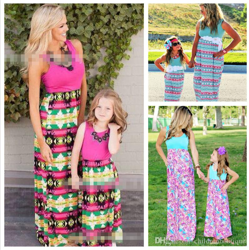 ef404e477b197 Mommy And Me Dress Family Matching Clothes Mother And Daughter Dresses  Family Look Kids Parent Children Patchwork Printing Dresses Outfits