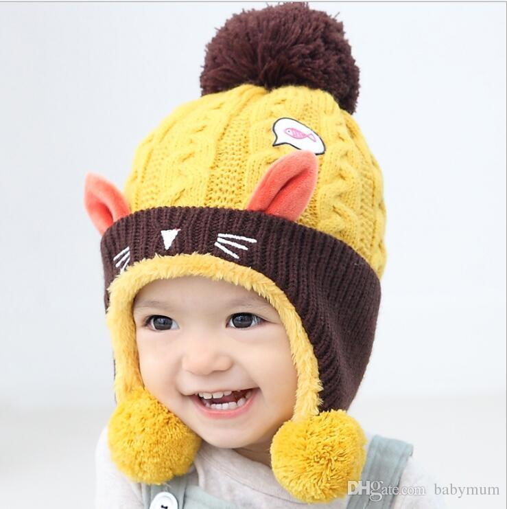 Acheter Hiver Chaud Cartoon Animaux Chat Chapeau Pour Bébé Garçon Fille  Tricot Crochet Infantile Bonnet Soft Toddler Casquettes Enfants Réchauffeur  De Tête ... 7fa99c45f3e