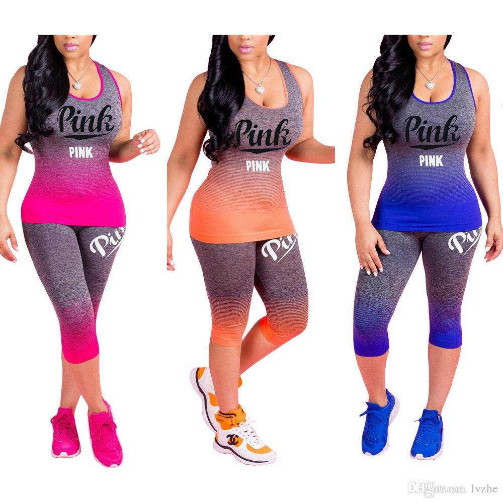 New Sexy Womens Ladies Sport Gym Fitness Tracksuit Vest Tank Top Cropped Pants Sets Plus Size