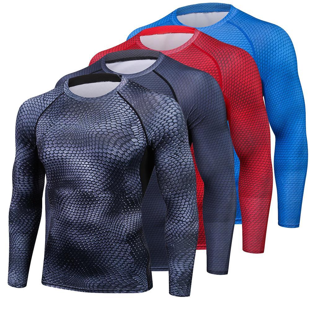 Serpentine 3d Printed T Shirts Men Compression Shirt Thermal Long
