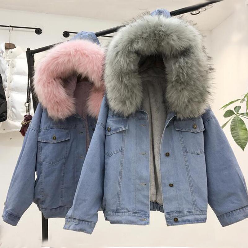 wholesale dealer 3e6fe 03e8d Giacca invernale jeans calda donna collo pelliccia di coniglio faux giacca  in pile con cappuccio Parka pelliccia di agnello cashmere cappotto di jeans  ...