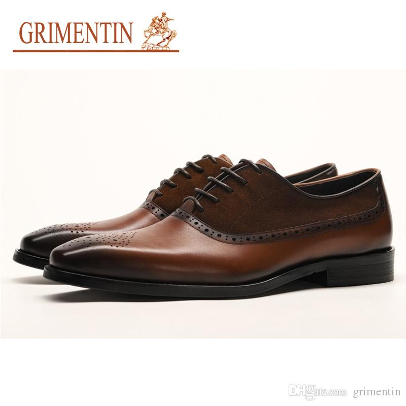 GRIMENTIN Hot Sale Mens Dress Shoes Italian Fashion Brand Men Oxfords Genuine Leather Black Brown Wedding Formal Business Mens Shoes YJ