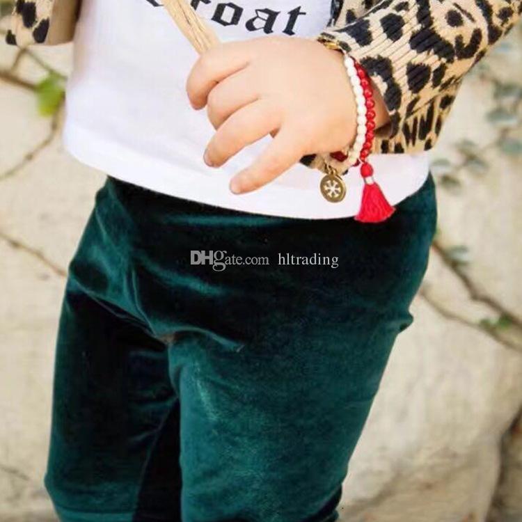Детские девочки Золотые бархатные брюки INS Леггинсы детские Брюки 2018 Новая мода Колготки детские Бутик Одежда C3647