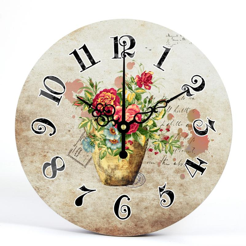 Round Wall Clocks Shabby Chic Home Decor For Kitchen Silent Living Room Watches Accessories Art Vintage Large Flower Pendulum