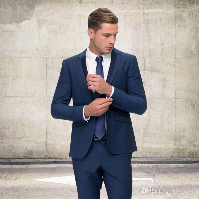 Personalizzato Dark Blue Abiti da uomo Matrimonio Nero con risvolto Risvolto Slim Fit Abiti da sposo Groomsmen Prom Wear Giacca sportiva Blazer Pantaloni