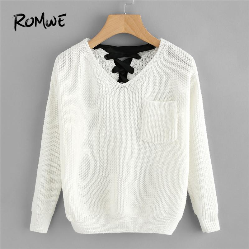 2019 ROMWE White Pocket V Neck Lace Up Back Texture Knit Sweater Women  Casual Autumn Winter Plain Long Sleeve Clothes Spring Pullover S18100803  From ... 996397cf9