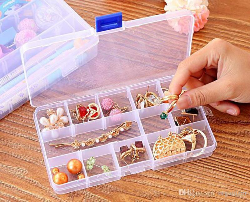 15 Compartment Plastic Clear Storage Box Small Box Jewelry Storage Box for Necklace Earrings Rings 500pcs