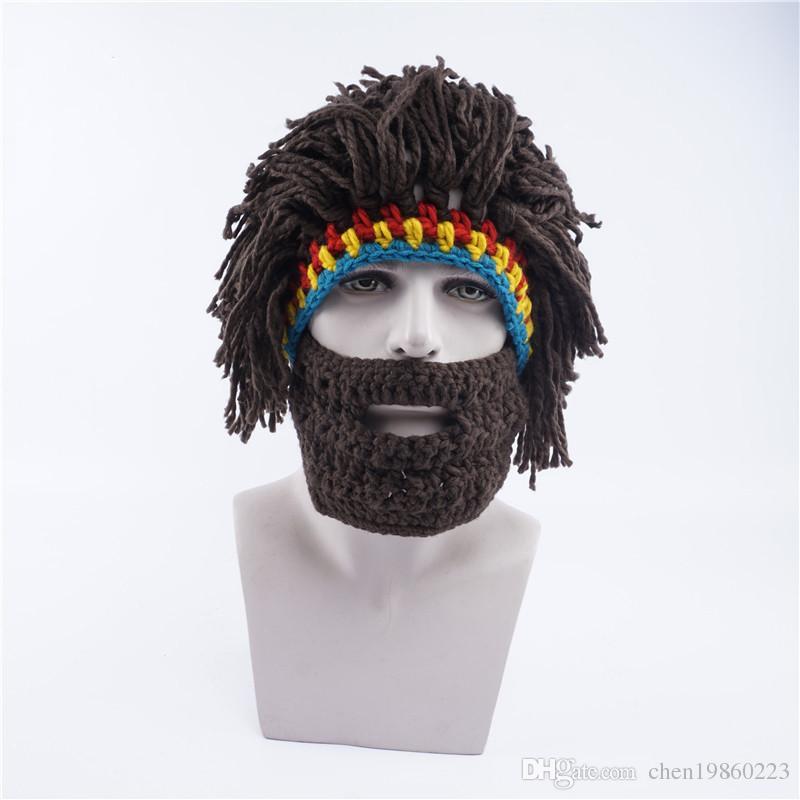 New Men S Hat Winter Warm Knit Hat Funny Wig Beard Cap Face Kinnillas Wool  Cap Fedora Hat Baseball Caps From Chen19860223 fdd26464671