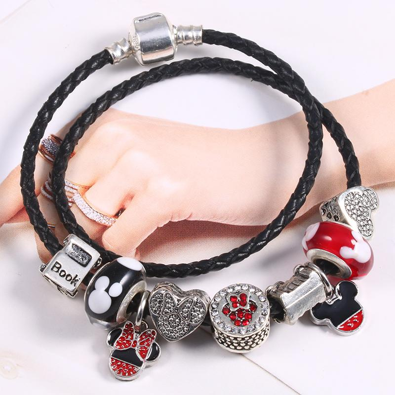 BAOPON 2018 Fashion Glass Mickey Beads Charm Bracelet For Women With Nice Snake Chain Fine Bracelet Gift Jewelry