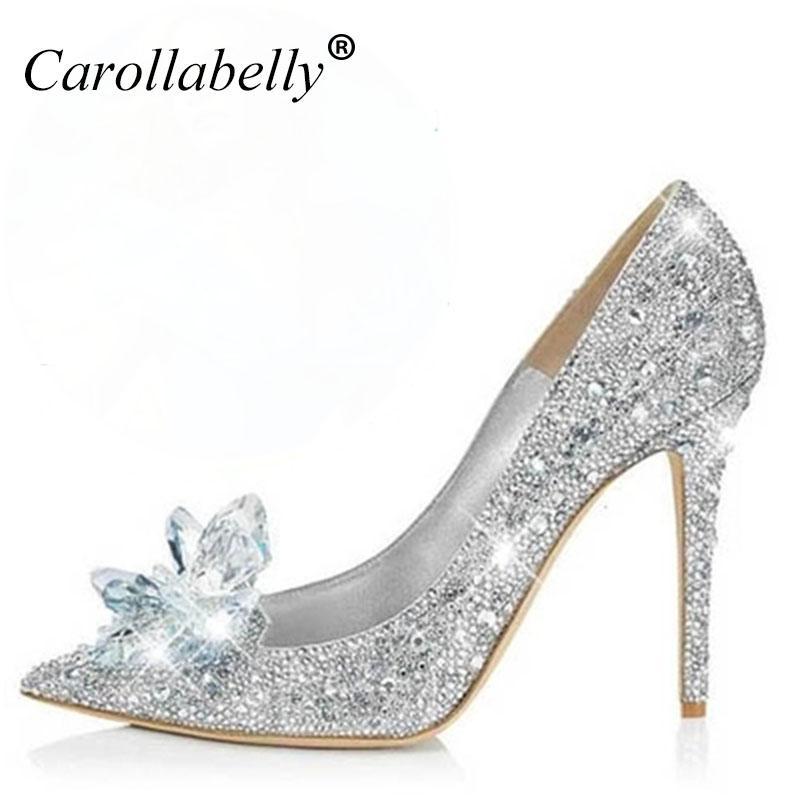 newest collection be97f 420dc 2018 Neue Strass High Heels Cinderella Schuhe Frauen Pumpt spitz Frau  Kristall Hochzeit Schuhe 7 cm oder 9 cm ferse große größe