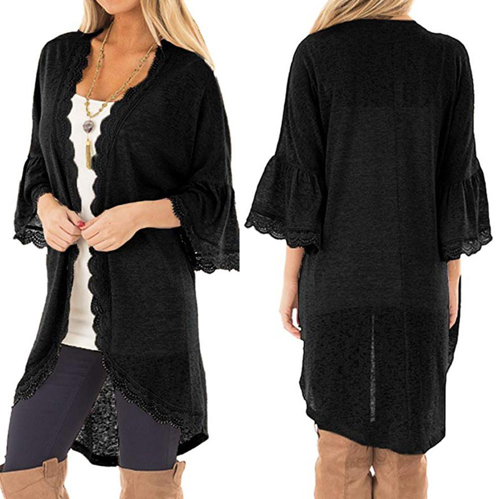 eada6388448 Vintage Women Chiffon Blouse Kimono Cardigan 2018 Plus Size Floral Lace  Blouse Shawl Oversized Tops Outwear Blusas Femininas Vintage Leather  Jackets ...