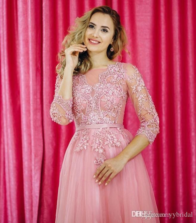 Compre 2018 Sexy Tallas Grandes Vestidos De Noche De Color Árabe ...