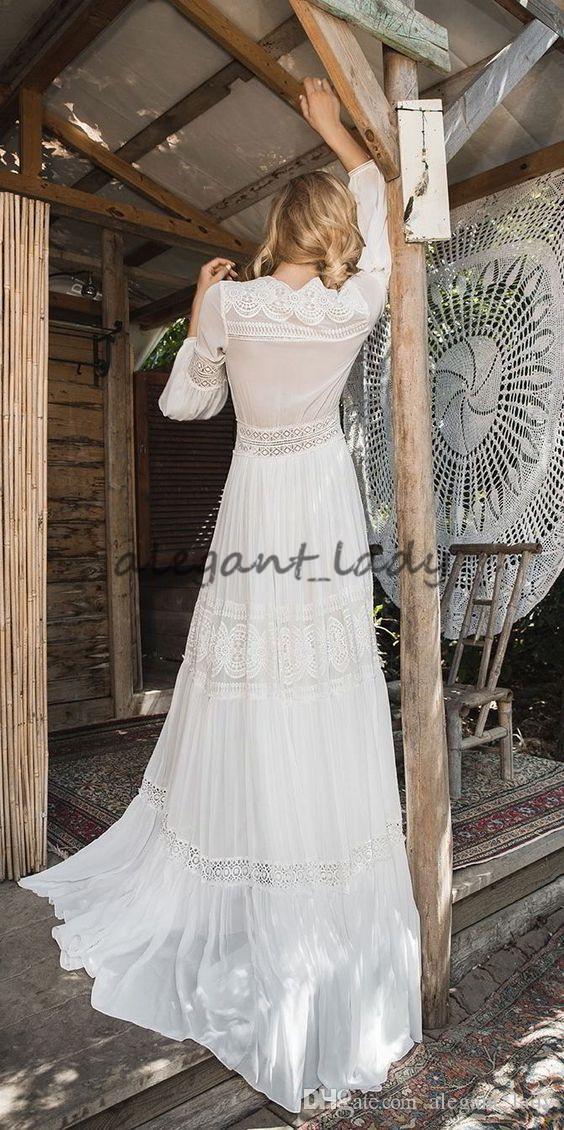 Nobal Raviv 2018 Manga Larga Vestidos de novia Crochet Encaje Chiffon Fluyente Flote Griego Diosas Beach Bohemian Vestido de novia