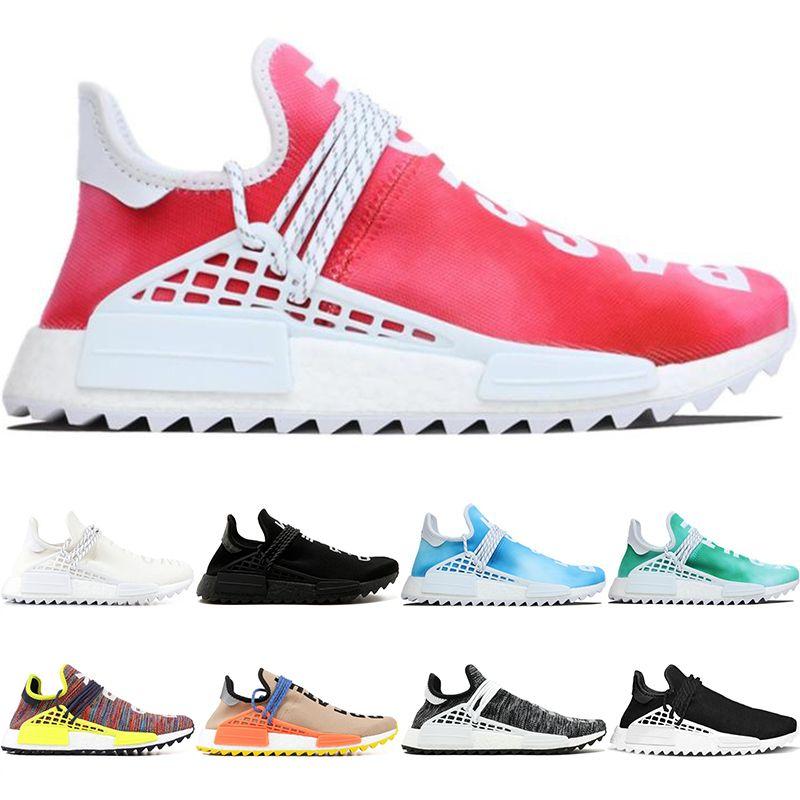 9b7479013b14e 2019 Human Race Trail Running Shoes Men Women Pharrell Williams HU Runner  Nerd Black White Peace Passion Younth Top Sport Sneaker From  Onlinesneakers
