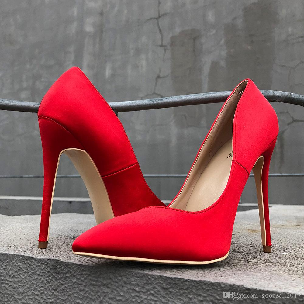 ec8d3a700e4b LADY 2018 Red Silk Satin Women Sexy Pointed Toe High Heel Shoes Elegant Ladies  Wedding Bridal Stiletto Pumps Slippers For Men Loafer Shoes From  Goodsell2017 ...