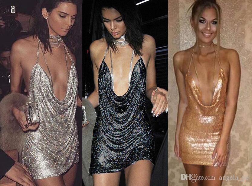 062667e73d 2019 2017 Kendall Jenner Birthday Party Dress Women Backless Halter Split Sequin  Dress Metal Vestido HOG0801 From Angela ye