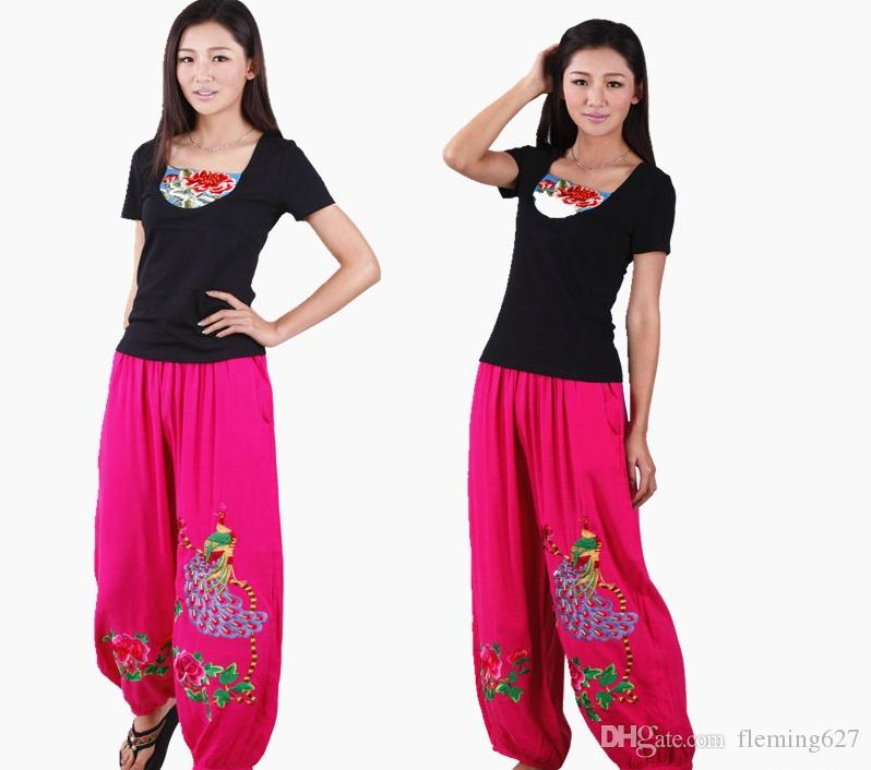 c395738cab95c 2019 Factory Direct Wholesale Ethnic Pants Poplin Linen Peacock Large Size  Pants Chinese Traditional Flower Embroidered Trousers From Fleming627