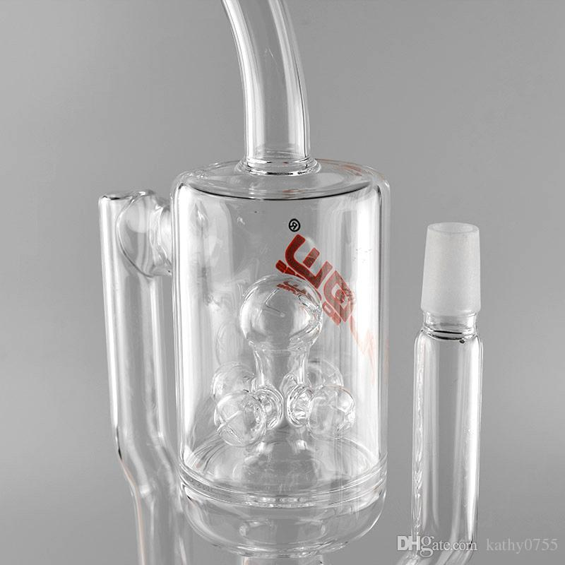 JM Flow glass water pipe double filtration recycler sprinkler percolator oil rig Glass bongs with 18 inches 18mm male joint