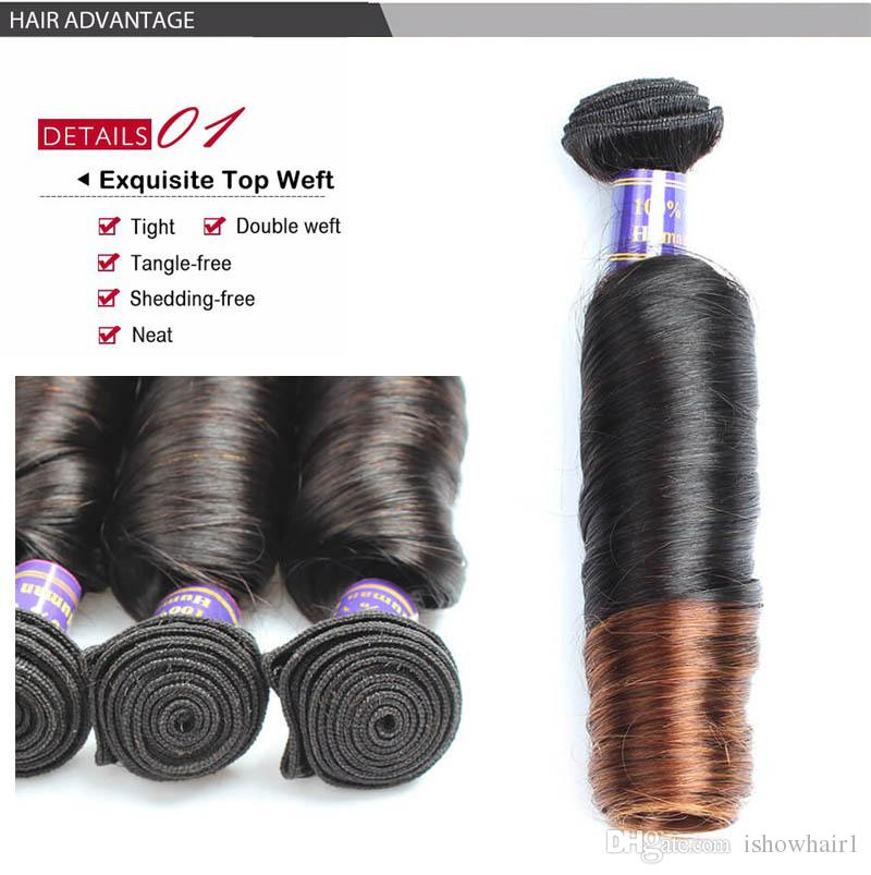 """New Arrival Bouncy Curly 3 Tone Ombre Brazilian Hair Weave Bundles 12""""-24"""" T1B/4/30 Remy Peruvian Human Hair Extensions"""