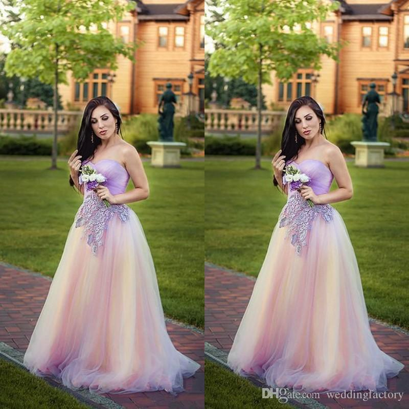 2019 Plus Size Colorful Prom Dresses Sweetheart Sleeveless Blush Pink  Lavender Lilac Colored Tulle Evening Gowns Lace Appliques Custom Made Plus  Size Formal ... 0db91be392da