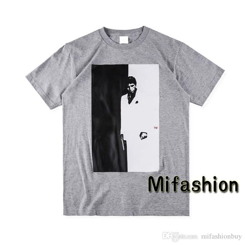 2018 Scarface Spilt Tee Europe Fashion Top Quality Summer Box logo Skateboard T-shirt Men Women Street tshirt