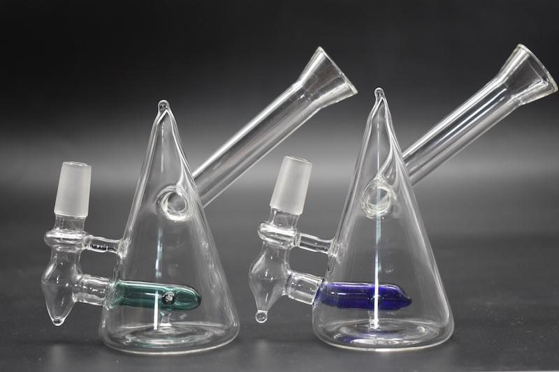 High cost performance mini Triangle beaker glass bongs water pipes banger herb chamber pipes chillers smoking pipe oil rigs dab rigs