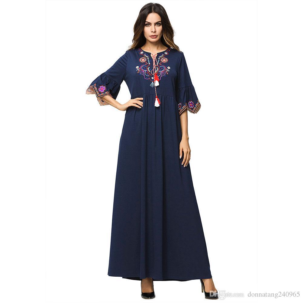 63f9e1b9aaa51 Elegant Muslim Maxi Dress Embroidery Abaya embroidery Lace Kimono Tunic  Long Robe Gowns Jubah Middle East Arab Islamic Clothing
