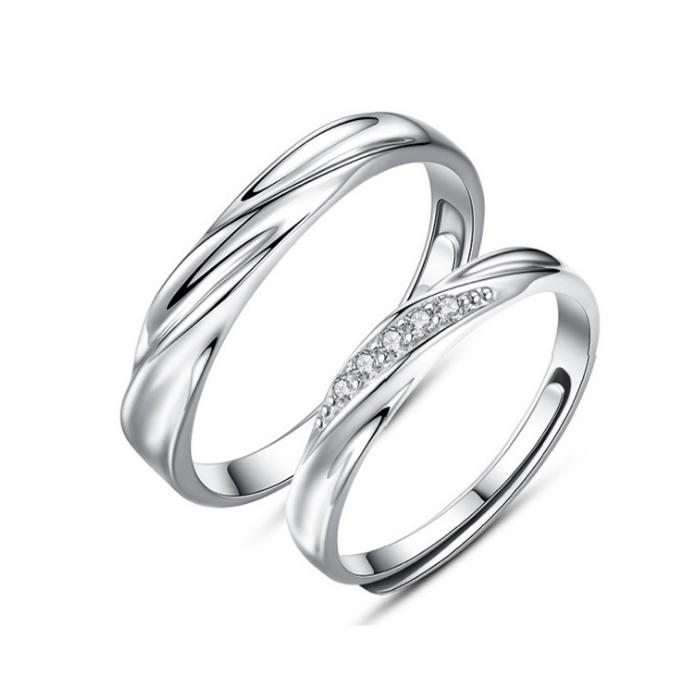 4bd76b31f9 2019 Fine Silver 925 Sterling Silver Women Engagement Ring Anniversary Man  Wedding Band Open Adjustable Couple Rings From Himyjewelry, $25.57 |  DHgate.Com