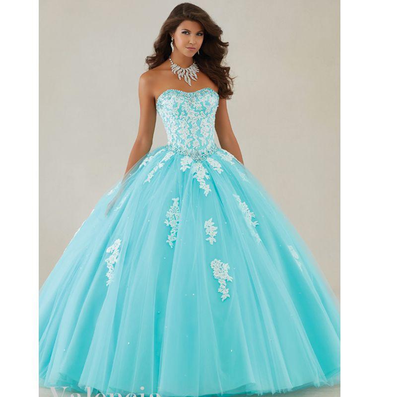 f3a1632987c 2019 Sweetheart Tulle Appliques Vestidos De Quinceanera Ball Gown Aqua  Puffy Quinceanera Dresses Sweet 16 Dresses Quinceanera Dress Cheap Quinceanera  Dress ...