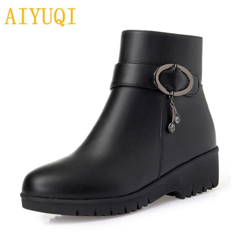 16ea84b669b27 AIYUQI Female Flat Boots 2018 New Leather Female Snow Boots