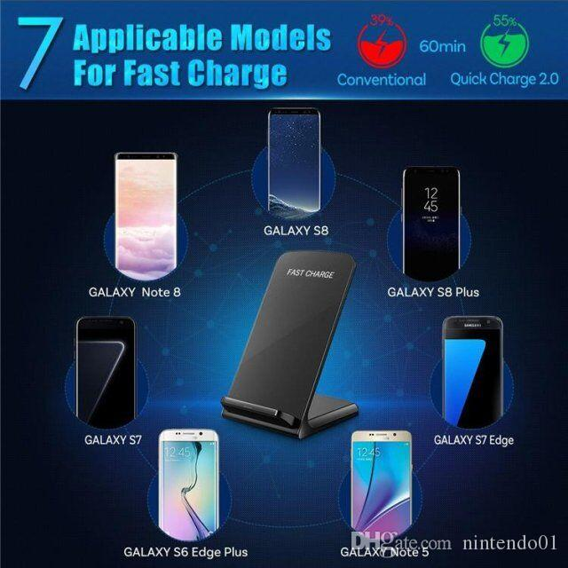 Cell Phone Chargers Dual Coils Qi Fast Charge Wireless Charging Dock for IPhone Samsung S8 S7 Charging Stand Pad Smartphones