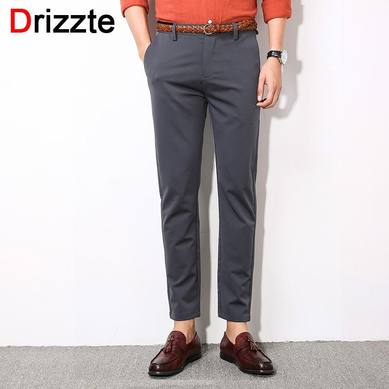 2019 Drizzte Mens Stretch Ankle Length Pants Work Slim Dress Pants