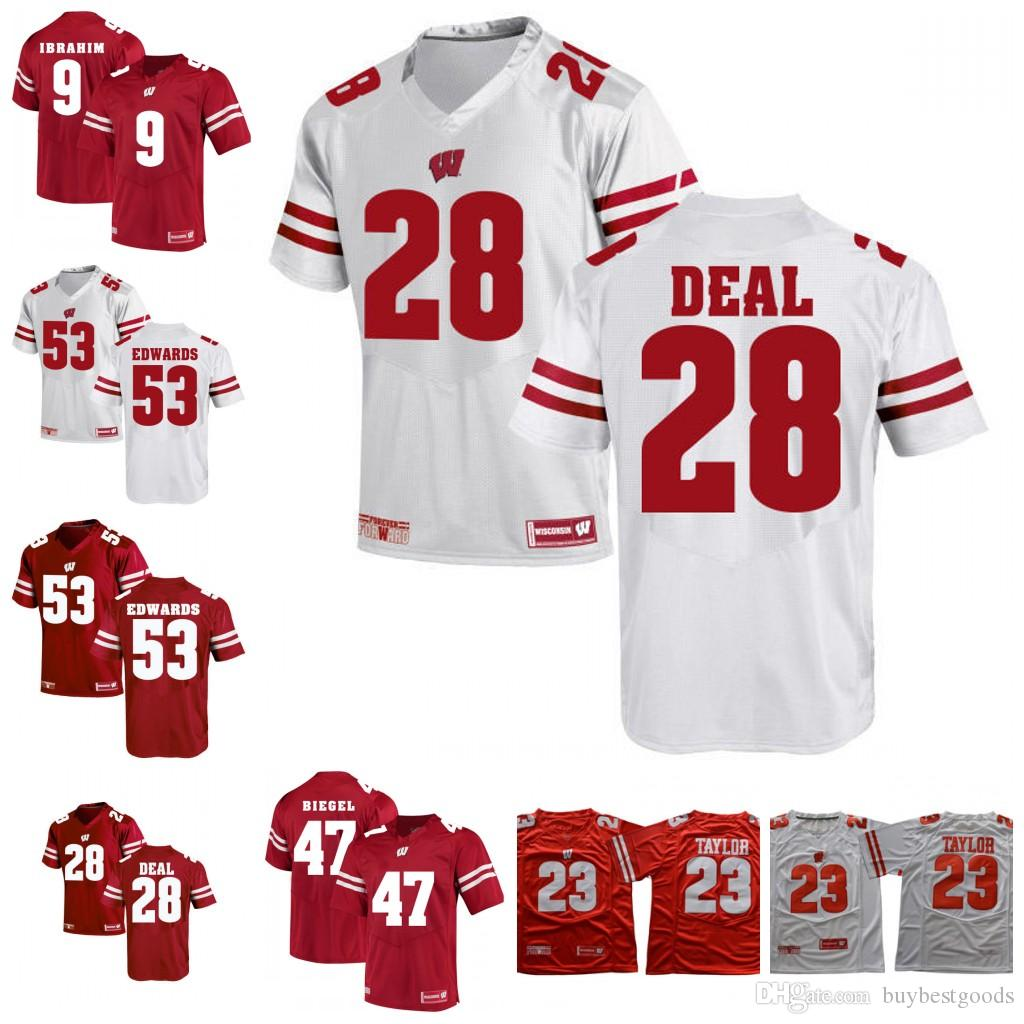 promo code 6ea93 95c2f Custom NCAA Wisconsin Badgers 3 Kendric Pryor 28 Taiwan Deal 53 TJ Edwards  4 A.J.Taylor White Red College Football Jersey S-3XL Stitched