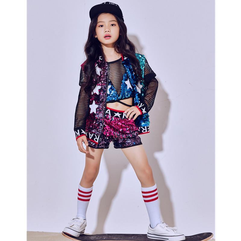 6c97e611e468 Acquista Nuovi Bambini Paillettes Costumi Di Danza Jazz Costumi Bambina Bambino  Hip Hop Tuta Da Ballo Moderna Abbigliamento Da Baseball Bambini A $51.94 Dal  ...