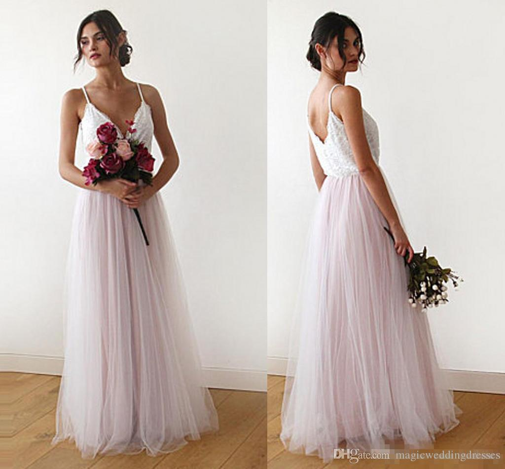 67cbf2e620 Sexy Boho Bridesmaid Dresses V Neck Spaghetti Straps Lace Tulle Pink Blue  Backless Beach Maid Of Honor Bohemian Wedding Party Wears Cheap