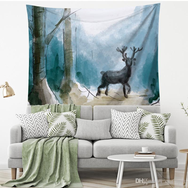 Village Animal Elk Snow Tapestry Wall Art Tapestries Home Decorative Door Curtain Living Room Bedspread Sheet Polyester Table Cloth