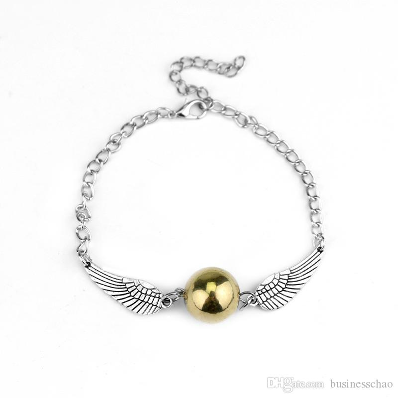 AFSHOR Fashion Harry Quidditch Golden Snitch bracelets for women and men Potter cute ball wings chain bracelets nice gifts AF006